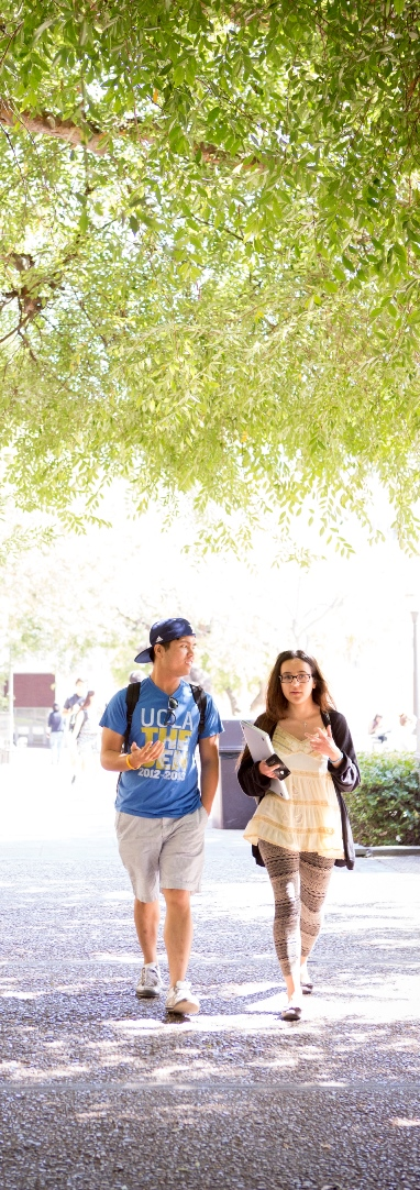 Students walking on South Campus under trees