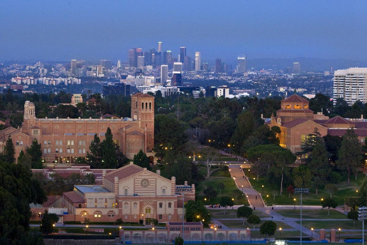 Aerial photo of UCLA with Los Angeles in the background