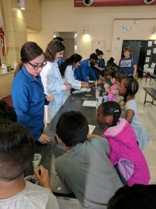 Students teaching elementary students science